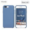 Moxie Coque iPhone 7 Plus/8 Plus [BeFluo] Coque Silicone Fine et Légère pour iPhone 8 Plus et iPhone 7 Plus, Intérieur Microfibre, Coque Anti-chocs et Anti-rayures pour iPhone 8+/7+ - Bleu Acier