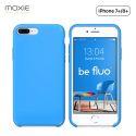Moxie Coque iPhone 7 Plus/8 Plus [BeFluo] Coque Silicone Fine et Légère pour iPhone 8 Plus et iPhone 7 Plus, Intérieur Microfibre, Coque Anti-chocs et Anti-rayures pour iPhone 8+/7+ - Bleu Clair