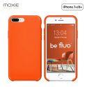 Moxie Coque iPhone 7 Plus/8 Plus [BeFluo] Coque Silicone Fine et Légère pour iPhone 8 Plus et iPhone 7 Plus, Intérieur Microfibre, Coque Anti-chocs et Anti-rayures pour iPhone 8+/7+ - Orange