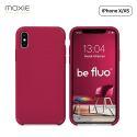 """Moxie Coque iPhone XS / iPhone X [BeFluo] Coque Silicone Fine et Légère pour iPhone XS 5.8"""" et iPhone X, Intérieur Microfibre, Coque Anti-chocs et Anti-rayures pour iPhone XS/X - Framboise"""