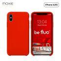 """Moxie Coque iPhone XS / iPhone X [BeFluo] Coque Silicone Fine et Légère pour iPhone XS 5.8"""" et iPhone X, Intérieur Microfibre, Coque Anti-chocs et Anti-rayures pour iPhone XS/X - Rouge"""