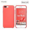 Moxie Coque iPhone 7 Plus/8 Plus [BeFluo] Coque Silicone Fine et Légère pour iPhone 8 Plus et iPhone 7 Plus, Intérieur Microfibre, Coque Anti-chocs et Anti-rayures pour iPhone 8+/7+ - Rose Vif